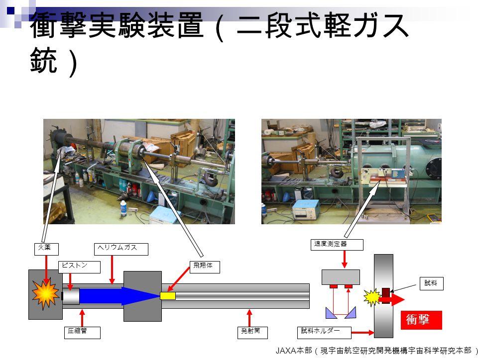衝撃実験装置(二段式軽ガス 銃) JAXA 本部(現宇宙航空研究開発機構宇宙科学研究本部 ) 火薬 ピストン 圧縮管 ヘリウムガス 飛翔体 発射筒 速度測定器 試料ホルダー 衝撃 試料