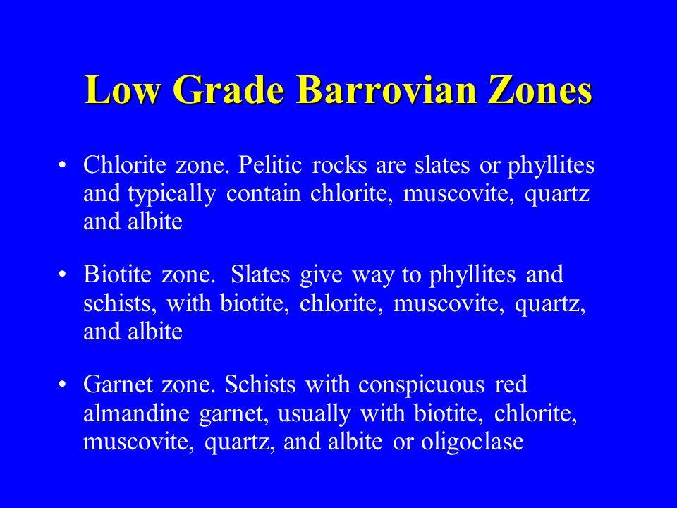 Low Grade Barrovian Zones Chlorite zone. Pelitic rocks are slates or phyllites and typically contain chlorite, muscovite, quartz and albite Biotite zo