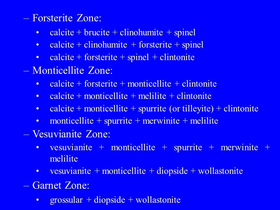 –Forsterite Zone: calcite + brucite + clinohumite + spinel calcite + clinohumite + forsterite + spinel calcite + forsterite + spinel + clintonite –Mon