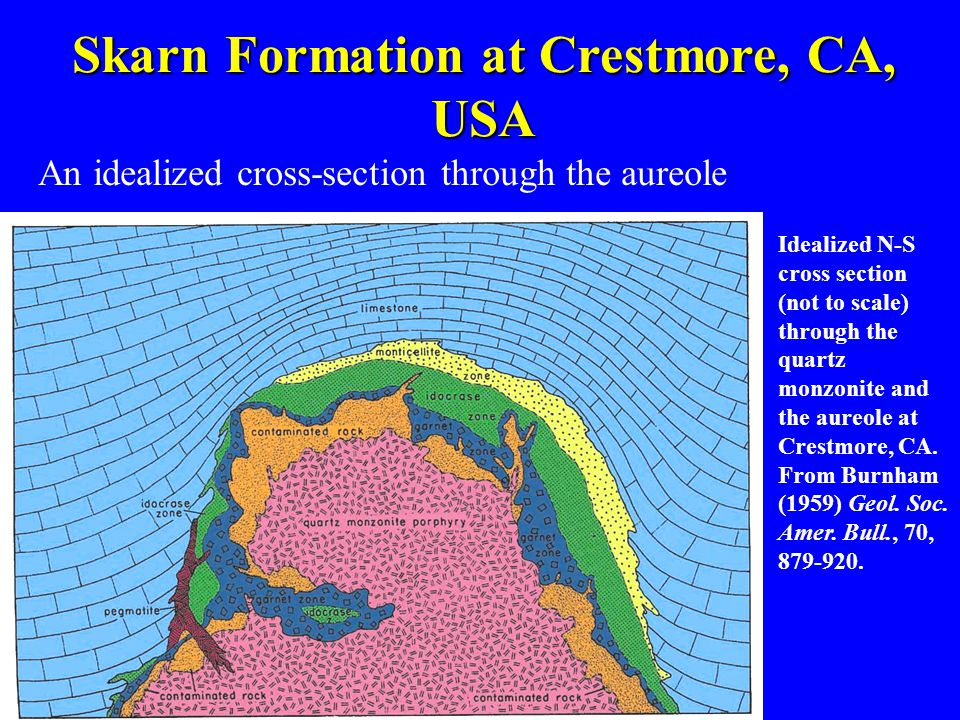 Skarn Formation at Crestmore, CA, USA An idealized cross-section through the aureole Idealized N-S cross section (not to scale) through the quartz mon