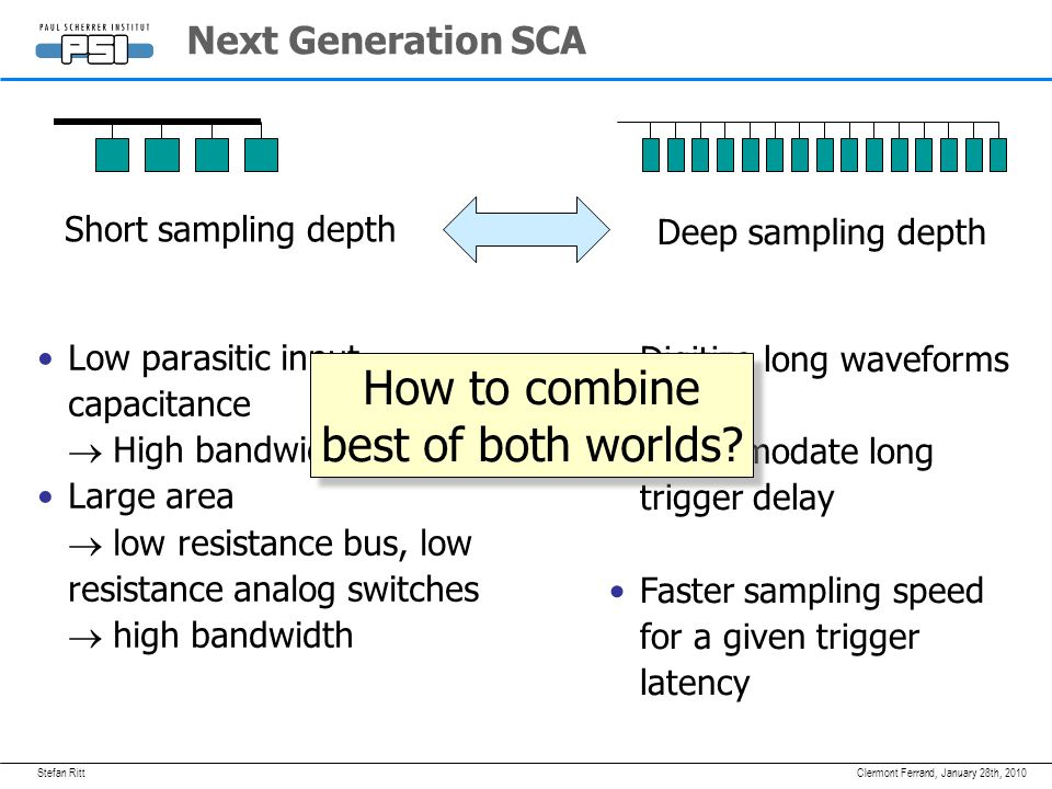 Stefan RittJanuary 28th, 2010Clermont Ferrand, Next Generation SCA Low parasitic input capacitance  High bandwidth Large area  low resistance bus, low resistance analog switches  high bandwidth Short sampling depth Digitize long waveforms Accommodate long trigger delay Faster sampling speed for a given trigger latency Deep sampling depth How to combine best of both worlds.