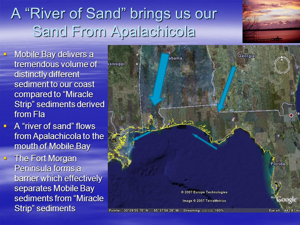 "A ""River of Sand"" brings us our Sand From Apalachicola  Mobile Bay delivers a tremendous volume of distinctly different sediment to our coast compare"