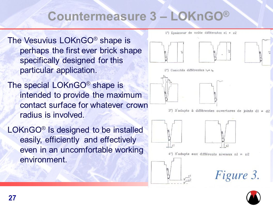 28 Countermeasure 3 – LOKnGO ® The Vesuvius LOKnGO ® shape is perhaps the first ever brick shape specifically designed for this particular application.