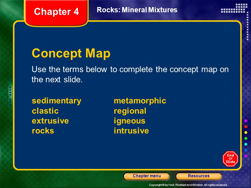Copyright © by Holt, Rinehart and Winston. All rights reserved. ResourcesChapter menu Rocks: Mineral Mixtures Concept Map Use the terms below to compl
