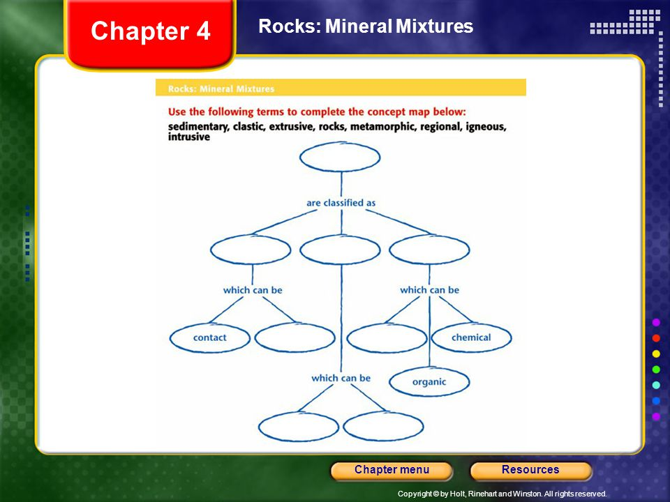 Copyright © by Holt, Rinehart and Winston. All rights reserved. ResourcesChapter menu Rocks: Mineral Mixtures Chapter 4