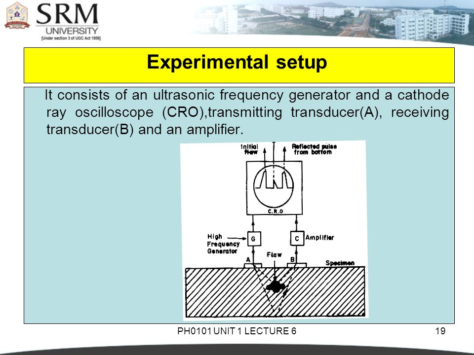 PH0101 UNIT 1 LECTURE 619 Experimental setup It consists of an ultrasonic frequency generator and a cathode ray oscilloscope (CRO),transmitting transd