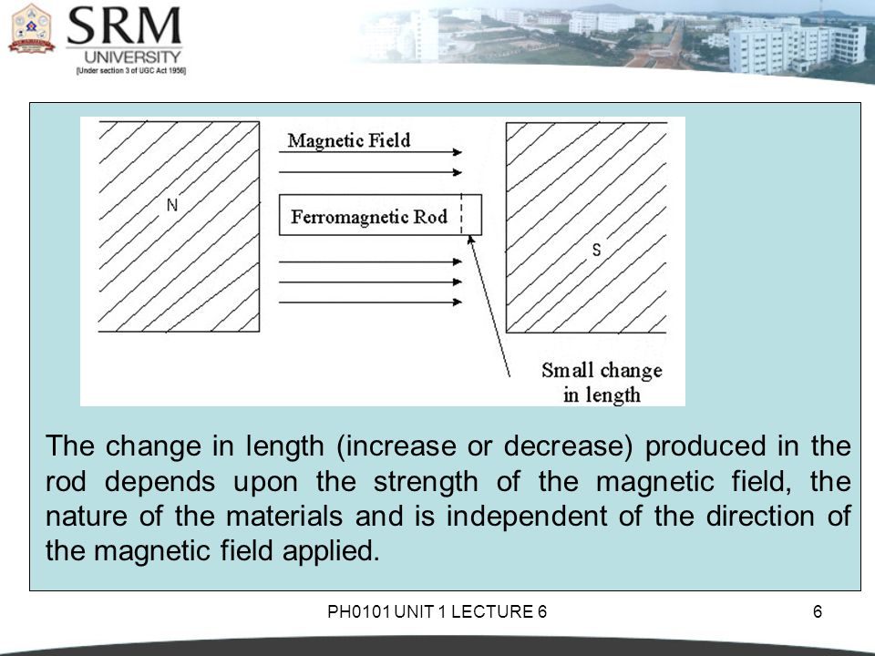 PH0101 UNIT 1 LECTURE 66 The change in length (increase or decrease) produced in the rod depends upon the strength of the magnetic field, the nature o