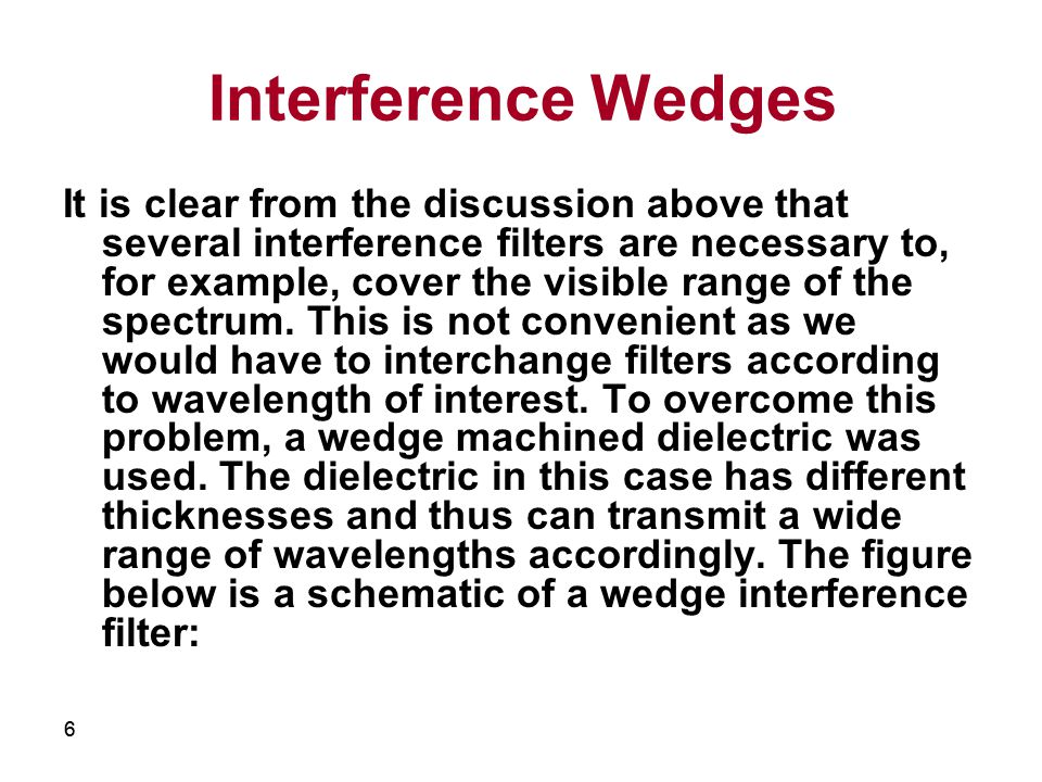 66 Interference Wedges It is clear from the discussion above that several interference filters are necessary to, for example, cover the visible range of the spectrum.