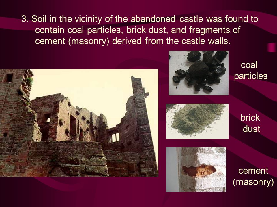 3. Soil in the vicinity of the abandoned castle was found to contain coal particles, brick dust, and fragments of cement (masonry) derived from the ca