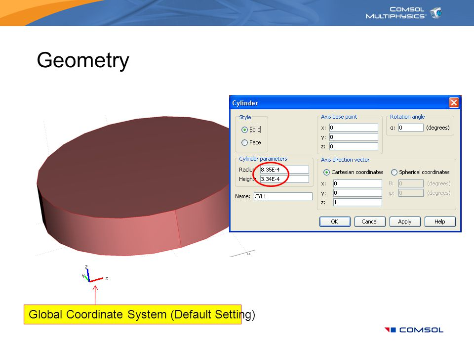 Geometry Global Coordinate System (Default Setting)