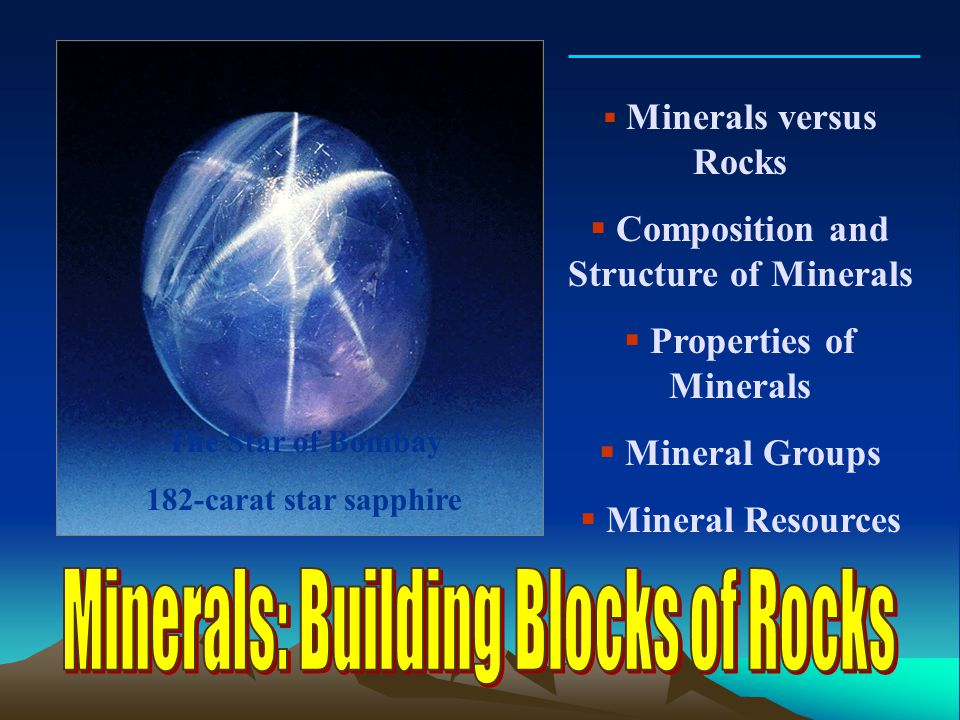 Minerals Versus Rocks A rock is an aggregate of minerals Minerals are the building blocks that make up rocks