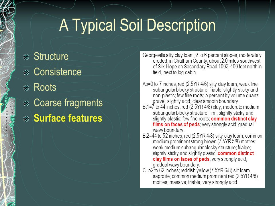 A Typical Soil Description Structure Consistence Roots Coarse fragments Surface features Georgeville silty clay loam, 2 to 6 percent slopes, moderately eroded; in Chatham County, about 2.0 miles southwest of Silk Hope on Secondary Road 1003, 400 feet north in field, next to log cabin.