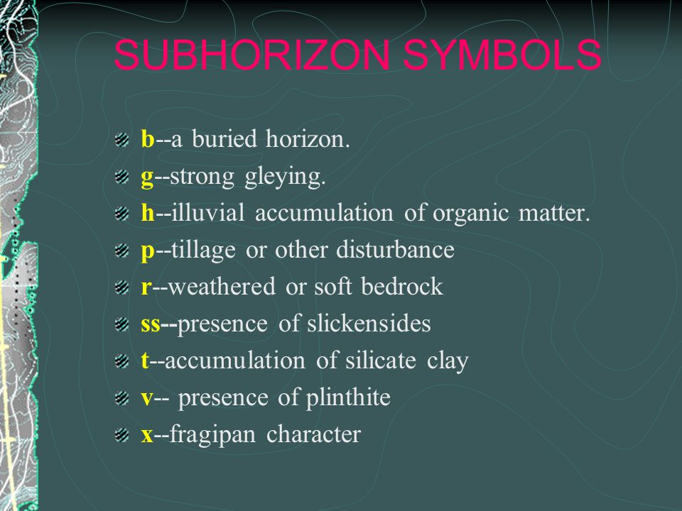 SUBHORIZON SYMBOLS b--a buried horizon. g--strong gleying.