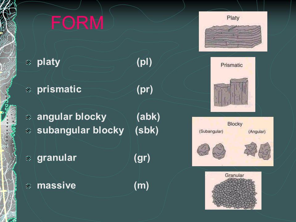 FORM platy (pl) prismatic (pr) angular blocky (abk) subangular blocky (sbk) granular (gr) massive (m)
