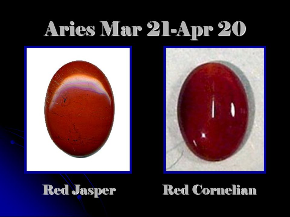 Aries Mar 21-Apr 20 Red Cornelian Red Jasper