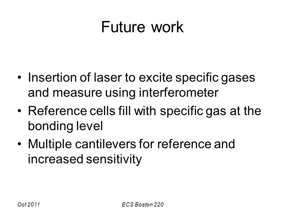 Oct 2011ECS Boston 220 Future work Insertion of laser to excite specific gases and measure using interferometer Reference cells fill with specific gas at the bonding level Multiple cantilevers for reference and increased sensitivity