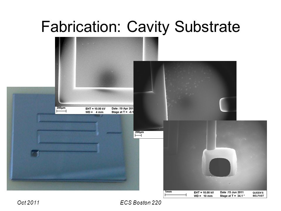 Oct 2011ECS Boston 220 Fabrication: Cavity Substrate