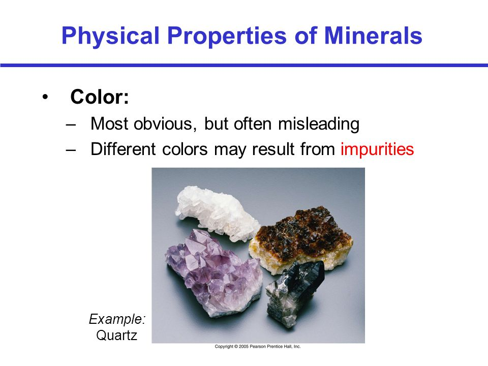 A mineral can be many different colors. Below is Mica.