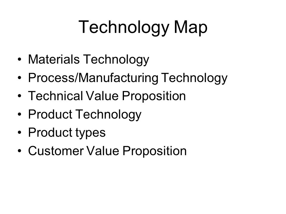 Technology Map Materials Technology Process/Manufacturing Technology Technical Value Proposition Product Technology Product types Customer Value Proposition