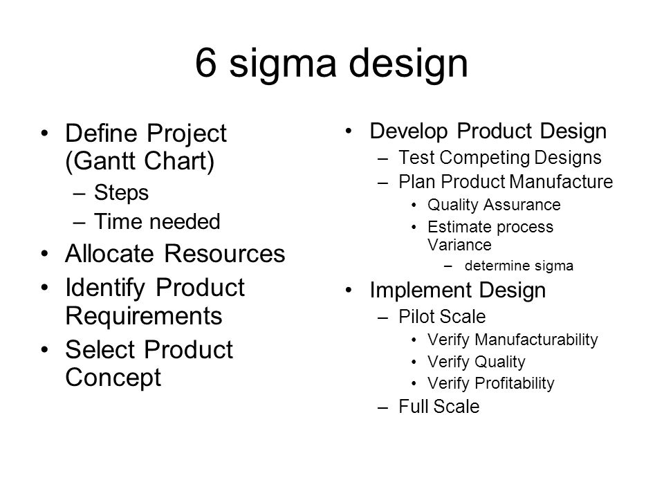 6 sigma design Define Project (Gantt Chart) –Steps –Time needed Allocate Resources Identify Product Requirements Select Product Concept Develop Product Design –Test Competing Designs –Plan Product Manufacture Quality Assurance Estimate process Variance – determine sigma Implement Design –Pilot Scale Verify Manufacturability Verify Quality Verify Profitability –Full Scale