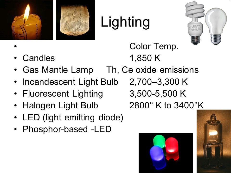 Lighting Color Temp. Candles1,850 K Gas Mantle Lamp Th, Ce oxide emissions Incandescent Light Bulb 2,700–3,300 K Fluorescent Lighting3,500-5,500 K Hal