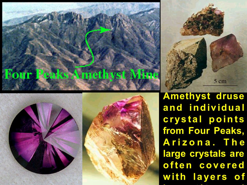 Amethyst druse and individual crystal points from Four Peaks, Arizona. The large crystals are often covered with layers of hematite and secondary grow