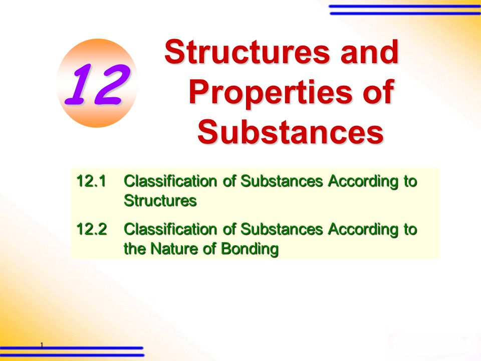 21 Properties of ionic substances 12.2 Classification of substances according to the nature of bonding (SB p.307) 3.Good conductors of electricity in molten or aqueous state 4.Soluble in polar solvents but insoluble in non-polar solvents Like dissolves like