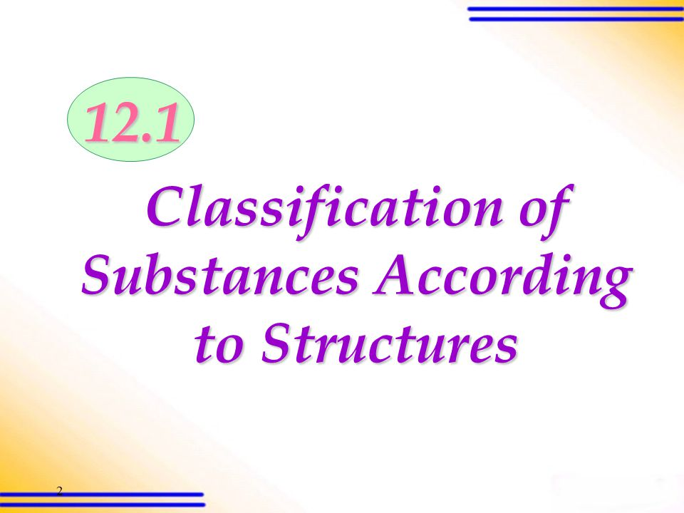 1 Structures and Properties of Substances 12.1Classification of Substances According to Structures 12.2Classification of Substances According to the Nature of Bonding 12