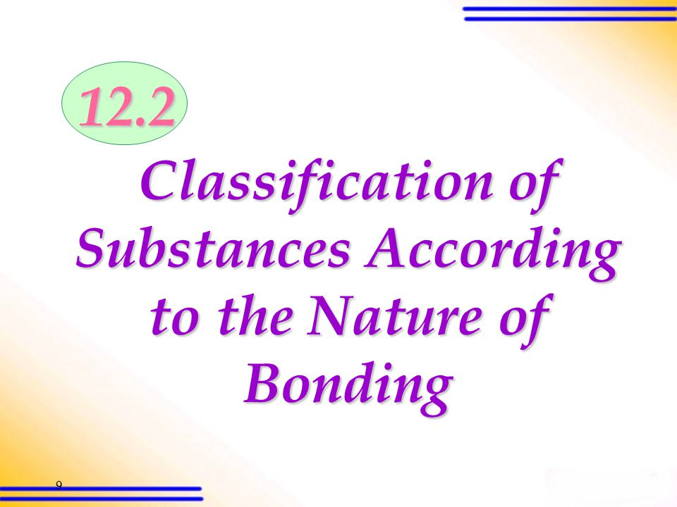 19 12.2 Classification of substances according to the nature of bonding (SB p.307) Ionic substances Cations and anions are held together by ionic bonds which are strong non-directional electrostatic attraction Oppositely charged ions are closely packed together to give a 3-dimensional giant lattice