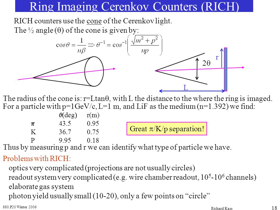 880.P20 Winter 2006 Richard Kass 18 Ring Imaging Cerenkov Counters (RICH) RICH counters use the cone of the Cerenkov light.