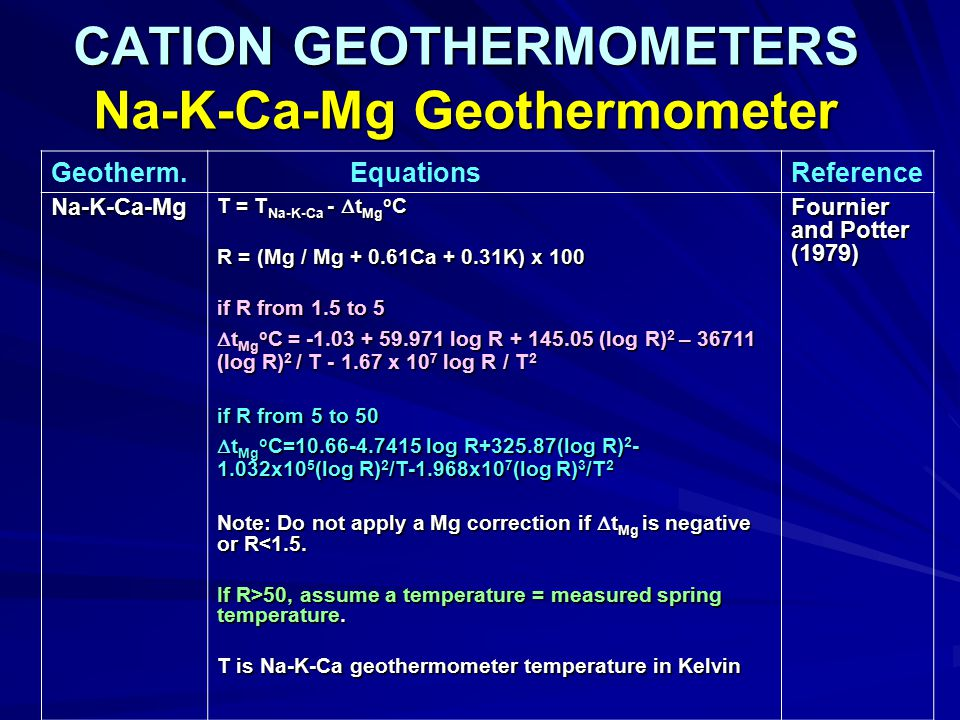 CATION GEOTHERMOMETERS Na-K-Ca-Mg Geothermometer Geotherm.