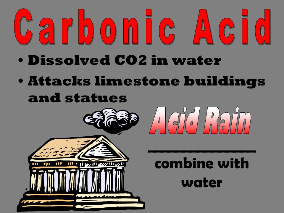 Dissolved CO2 in water Attacks limestone buildings and statues _______________ combine with water