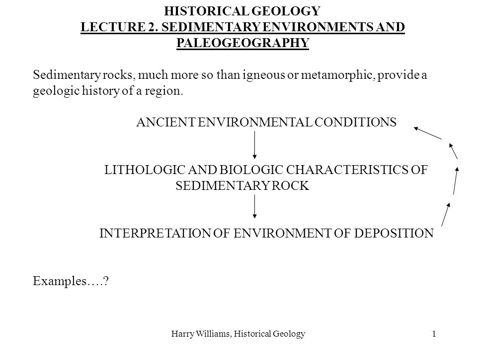 Harry Williams, Historical Geology1 HISTORICAL GEOLOGY LECTURE 2. SEDIMENTARY ENVIRONMENTS AND PALEOGEOGRAPHY Sedimentary rocks, much more so than ign