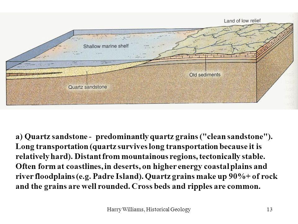 Harry Williams, Historical Geology13 a) Quartz sandstone - predominantly quartz grains ( clean sandstone ).