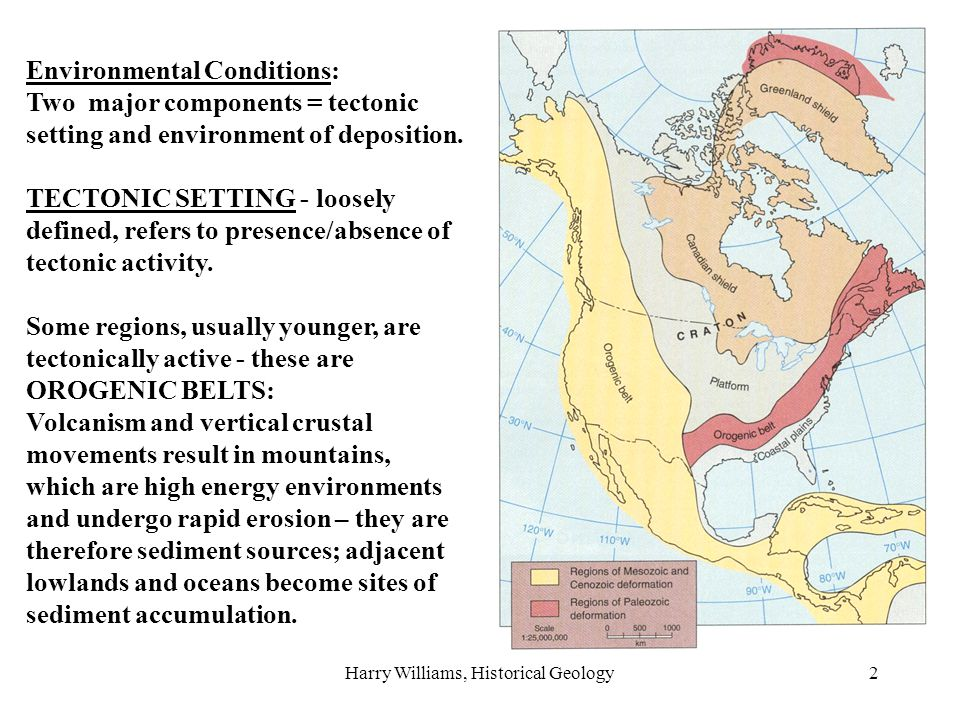Harry Williams, Historical Geology2 Environmental Conditions: Two major components = tectonic setting and environment of deposition. TECTONIC SETTING