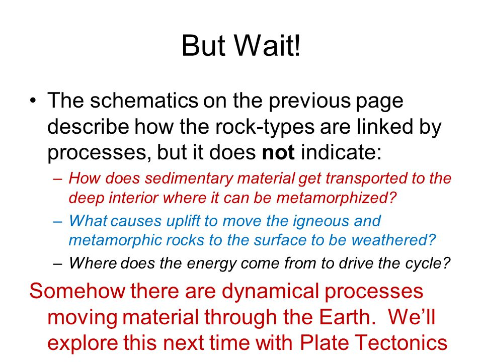 But Wait! The schematics on the previous page describe how the rock-types are linked by processes, but it does not indicate: –How does sedimentary mat