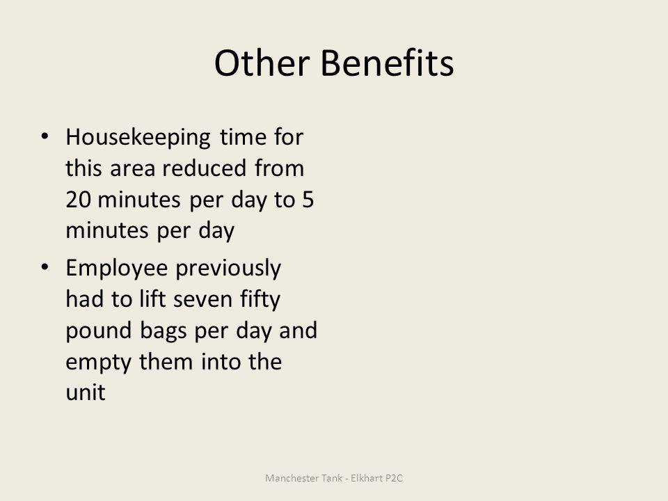 Other Benefits Housekeeping time for this area reduced from 20 minutes per day to 5 minutes per day Employee previously had to lift seven fifty pound
