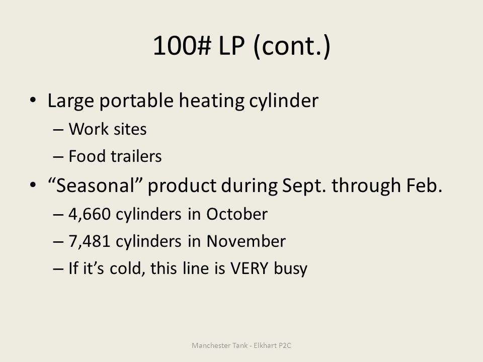 100# LP (cont.) Large portable heating cylinder – Work sites – Food trailers Seasonal product during Sept.