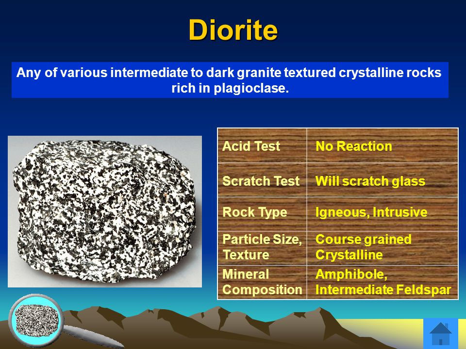 Diorite Acid TestNo Reaction Scratch TestWill scratch glass Rock TypeIgneous, Intrusive Particle Size, Texture Course grained Crystalline Mineral Comp