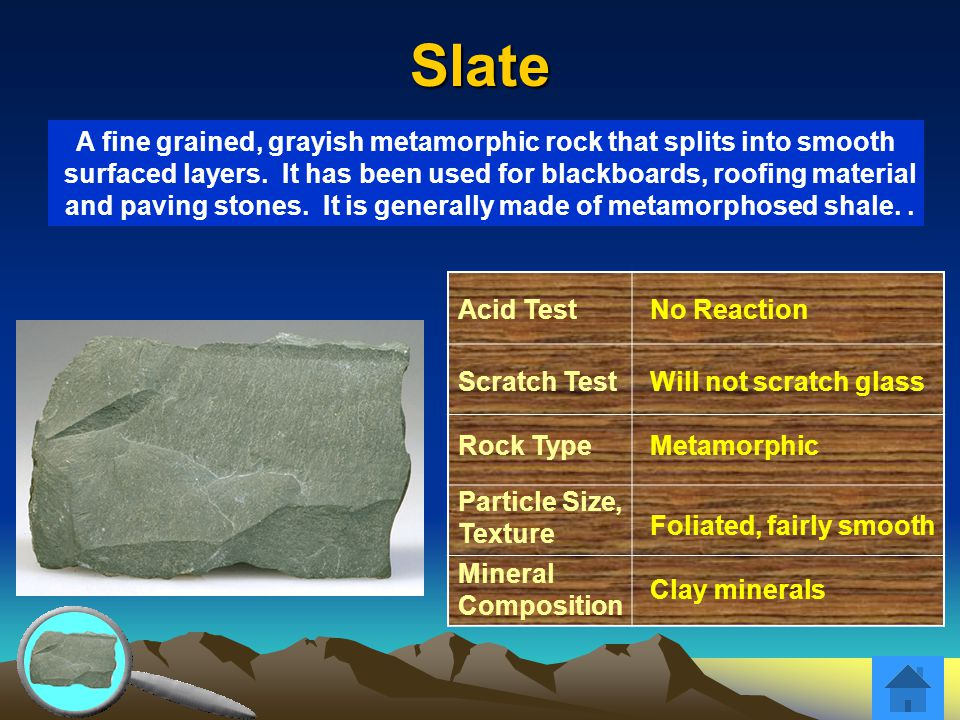 Slate Acid TestNo Reaction Scratch TestWill not scratch glass Rock TypeMetamorphic Particle Size, Texture Foliated, fairly smooth Mineral Composition