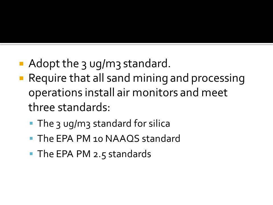  Adopt the 3 ug/m3 standard.