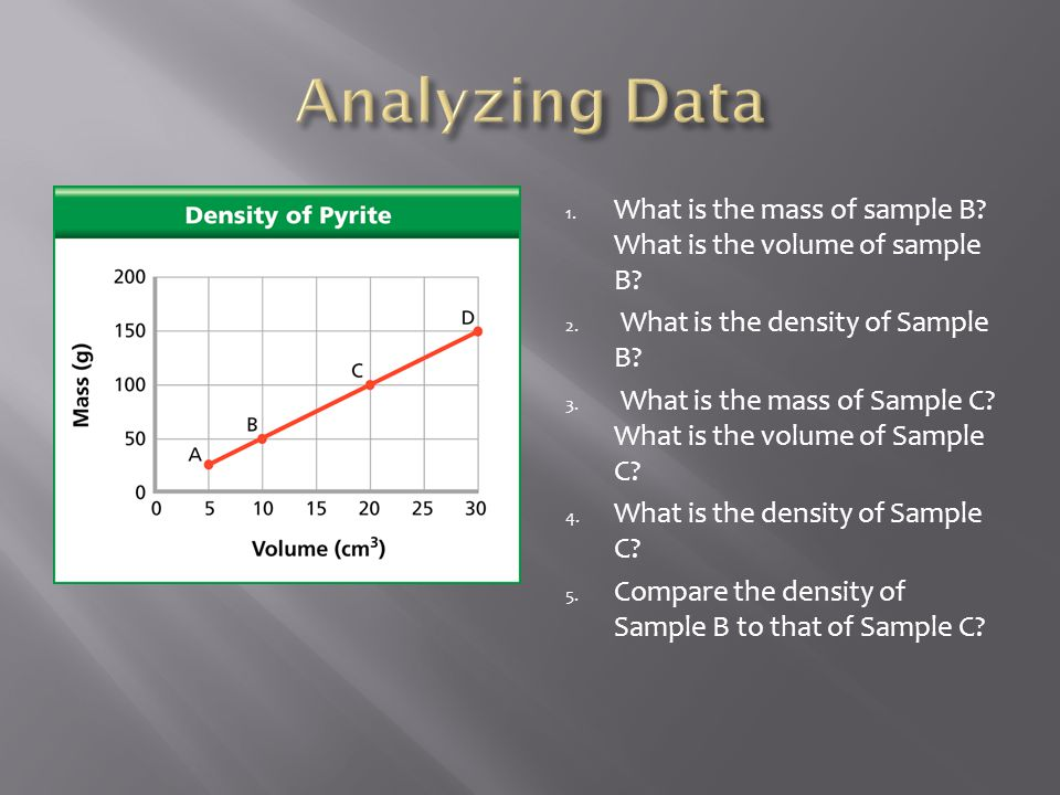 1.What is the mass of sample B. What is the volume of sample B.