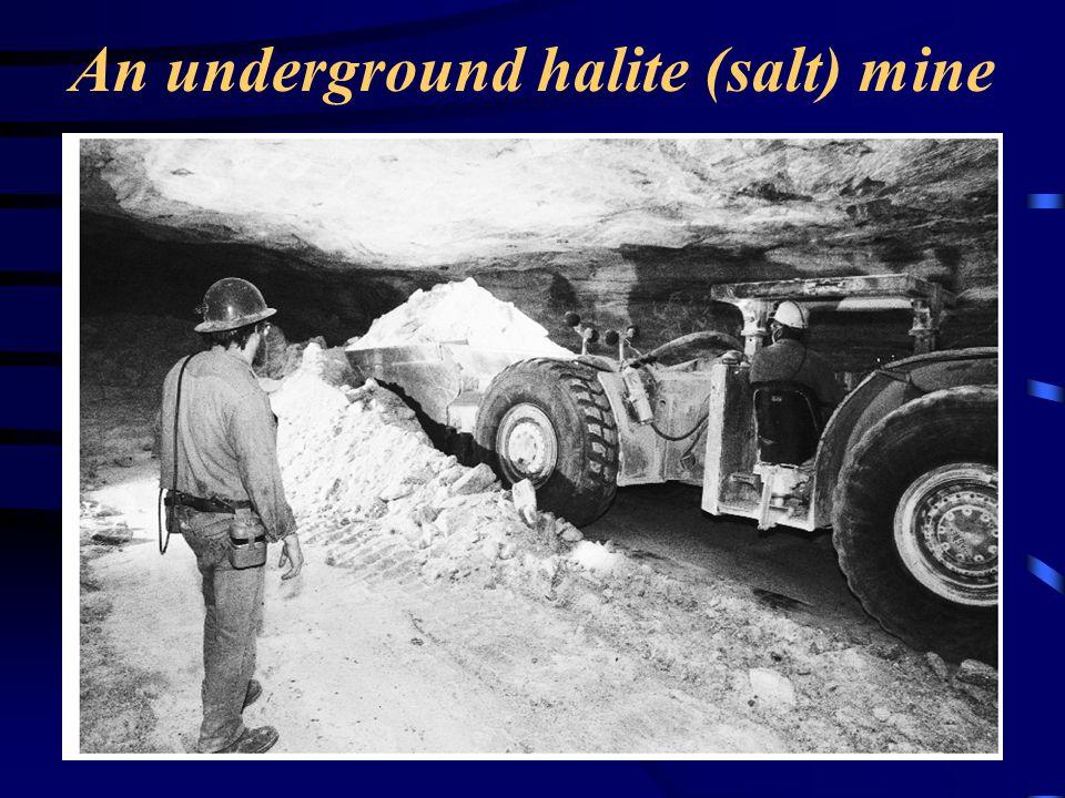 An underground halite (salt) mine