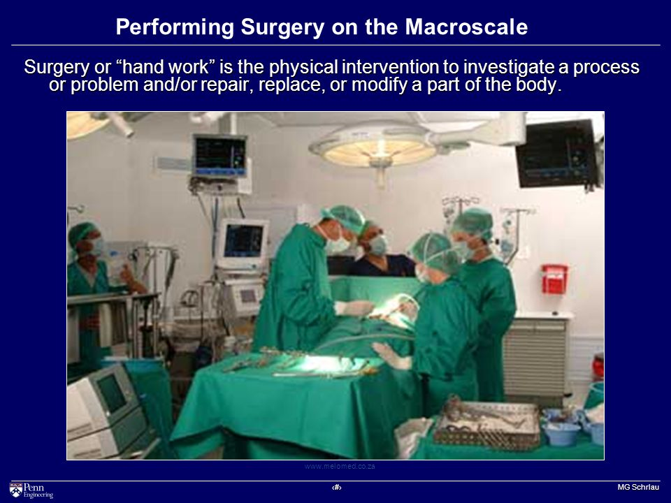 ‹#› MG Schrlau www.melomed.co.za Performing Surgery on the Macroscale Surgery or hand work is the physical intervention to investigate a process or problem and/or repair, replace, or modify a part of the body.
