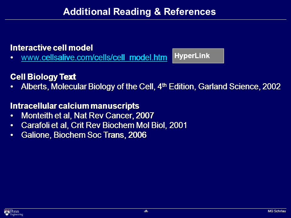 ‹#› MG Schrlau Additional Reading & References Interactive cell model www.cellsalive.com/cells/cell_model.htmwww.cellsalive.com/cells/cell_model.htmwww.cellsalive.com/cells/cell_model.htm Cell Biology Text Alberts, Molecular Biology of the Cell, 4 th Edition, Garland Science, 2002Alberts, Molecular Biology of the Cell, 4 th Edition, Garland Science, 2002 Intracellular calcium manuscripts Monteith et al, Nat Rev Cancer, 2007Monteith et al, Nat Rev Cancer, 2007 Carafoli et al, Crit Rev Biochem Mol Biol, 2001Carafoli et al, Crit Rev Biochem Mol Biol, 2001 Galione, Biochem Soc Trans, 2006Galione, Biochem Soc Trans, 2006 Interactive cell model www.cellsalive.com/cells/cell_model.htm Cell Biology Text Alberts, Molecular Biology of the Cell, 4 th Edition, Garland Science, 2002 Intracellular calcium manuscripts Monteith et al, Nat Rev Cancer, 2007 Carafoli et al, Crit Rev Biochem Mol Biol, 2001 Galione, Biochem Soc Trans, 2006 HyperLink