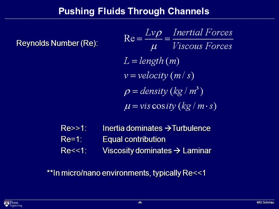 ‹#› MG Schrlau Pushing Fluids Through Channels Re>>1:Inertia dominates  Turbulence Re=1: Equal contribution Re<<1: Viscosity dominates  Laminar **In micro/nano environments, typically Re<<1 Reynolds Number (Re):