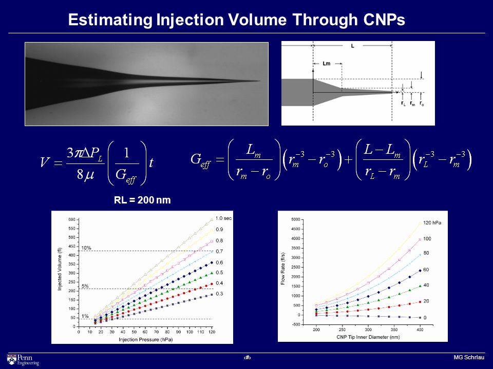 ‹#› MG Schrlau Estimating Injection Volume Through CNPs RL = 200 nm