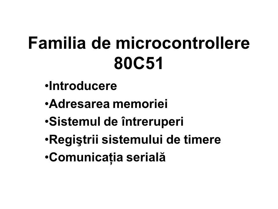 Familia de microcontrollere 80C51 Introducere Adresarea memoriei Sistemul de întreruperi Regiştrii sistemului de timere Comunicaţia serială