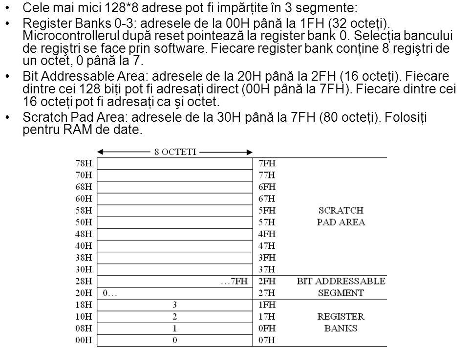 Cele mai mici 128*8 adrese pot fi impărţite în 3 segmente: Register Banks 0-3: adresele de la 00H până la 1FH (32 octeţi).