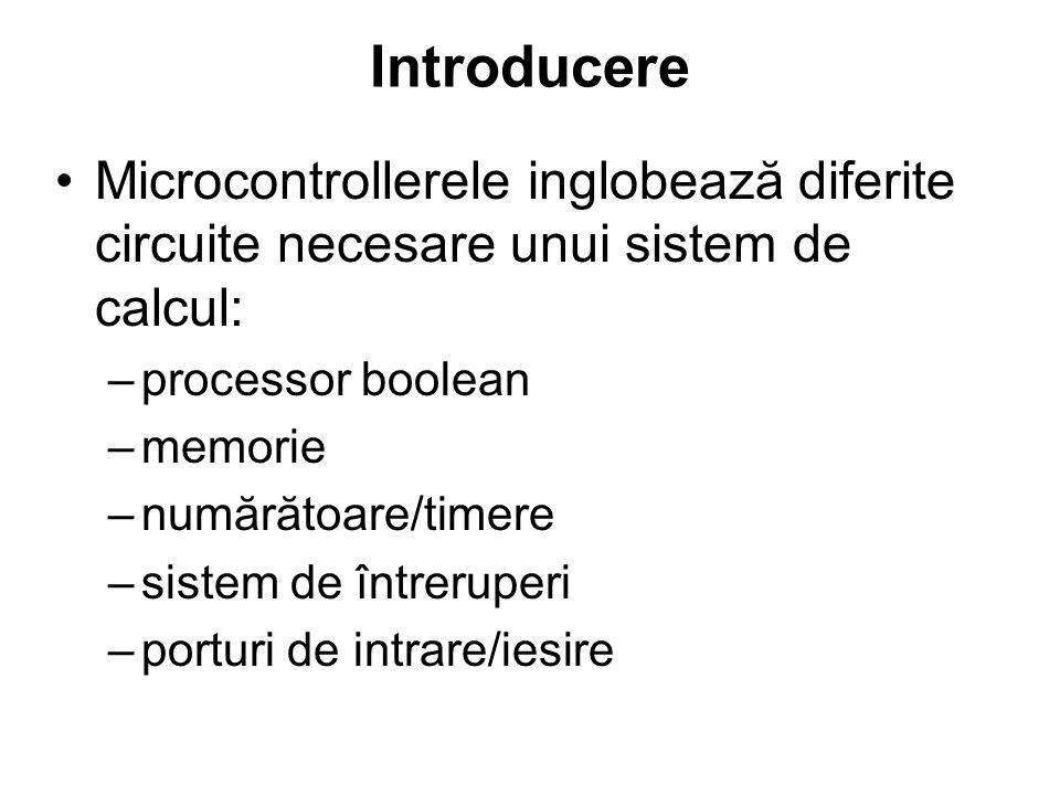 Caracteristicile familiei de microcontrollere 80C51: –Unitate centrala de procesare 8051 4k*8 ROM 128*8 RAM 3*16-biti numărătoare/timere procesor boolean –Capabilitate de adresare a memoriei externe 64k*8 ROM (program) 64k*8 RAM (data) –6 întreruperi cu 2 nivele de prioritate –4*8-biti porturi I/O –UART full–duplex –port asincron de reset